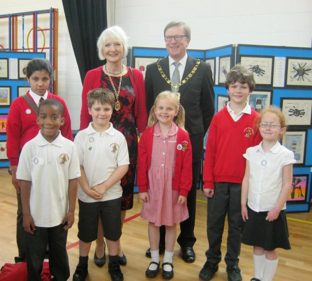 Deputy Mayor of Merton with students at the Joseph Hood Primary art exhibition