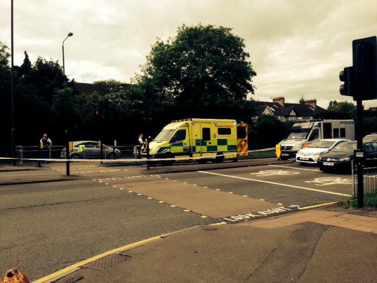 The scene at the junction of Bushey Road and Grand Drive this morning
