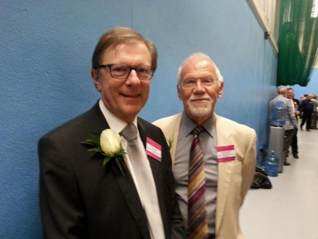 Councillors John Sargeant and Peter Southgate at the count on Thursday, May 22