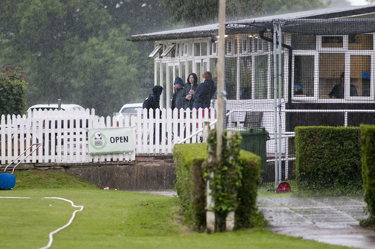 Rained off: Saturday's rain accounted for exactly half the scheduled 30 Surrey Championship games, including Banstead v Spencer in the Premier Division, pictured, and Ashtead's trip to Wa