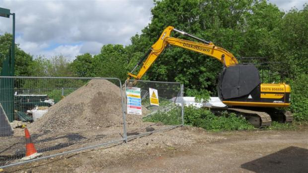 A digger on the site