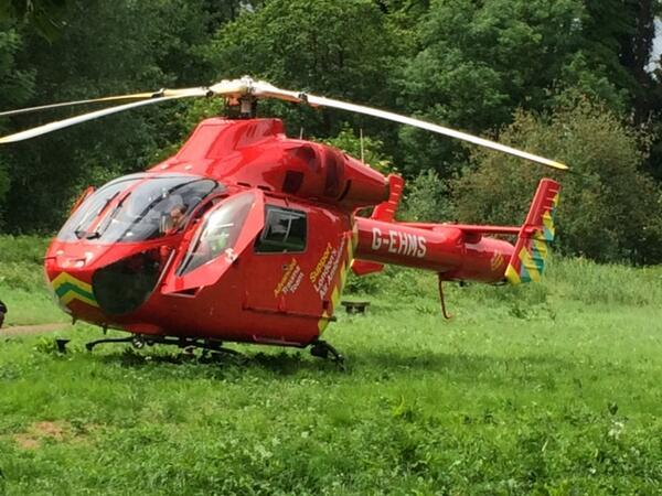 An air Ambulance landed in Morden Hall Park