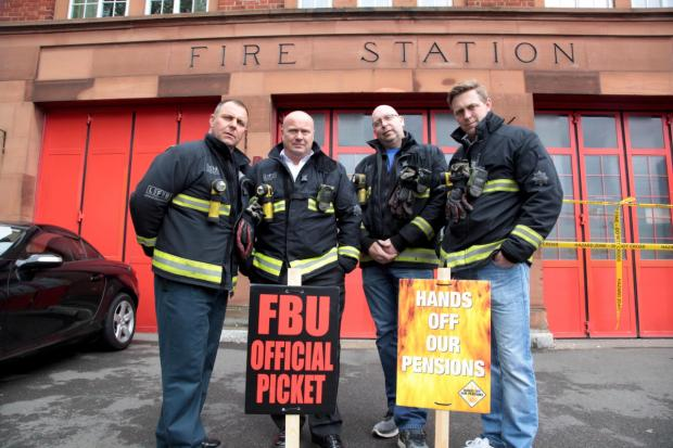 Firefighters in Mitcham pictured on the picket line earlier this year