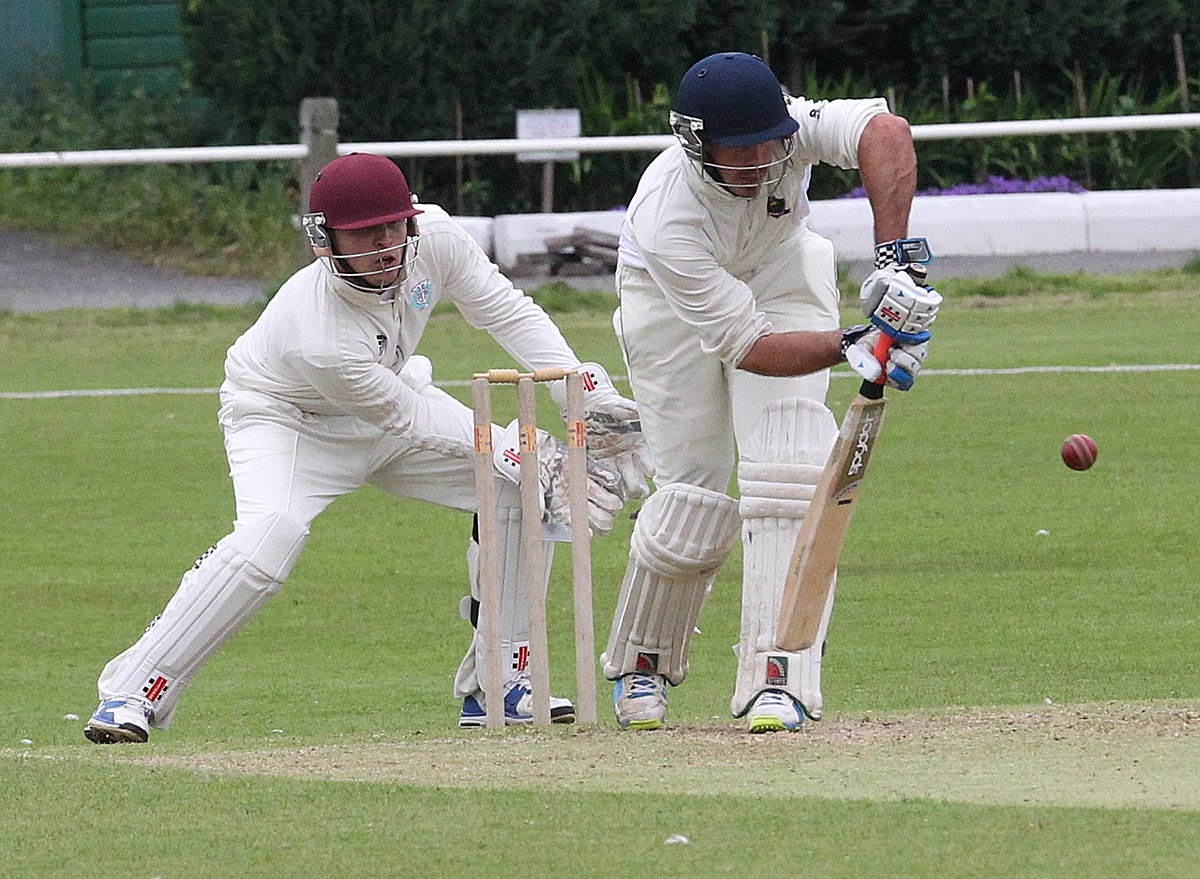 Keep that out: Richmond's Andrew Lowe frsutrates the bowling during his 125-ball 45 against Teddington
