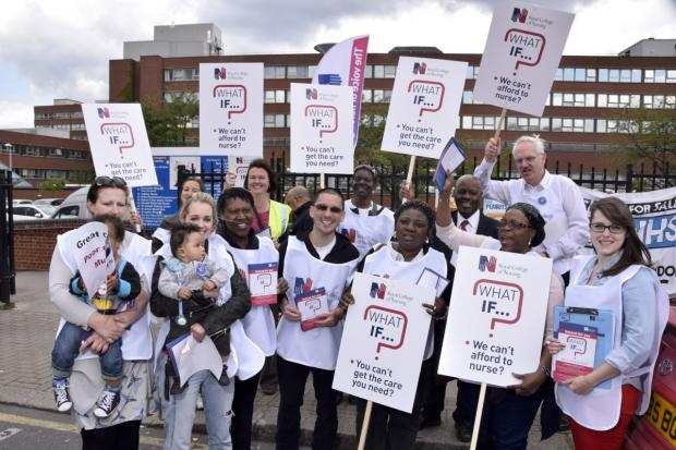 "Wimbledon Guardian: Some of the signs read: ""What is we can't afford to nurse?"""