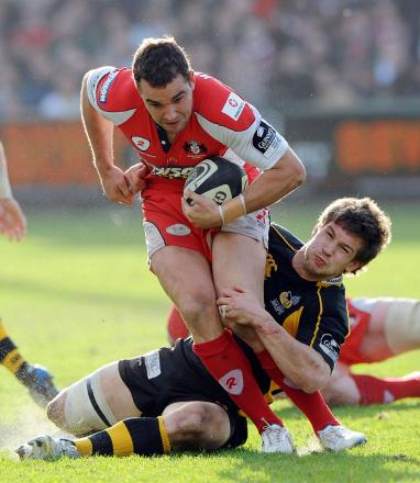 Flying in: Olly Barkley in action for Gloucester  Picture: Action Images