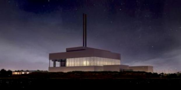 An artists impression of the incinerator by night