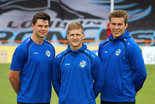 Joining up: Former Elmbridge Eagles youngster Harvey Burnett, left, with Joe Keyes and Toby Everett