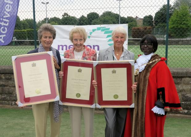Left to right, Virginia Wade, Angela Mortimer and Ann Haydon-Jones with the mayor of Merton