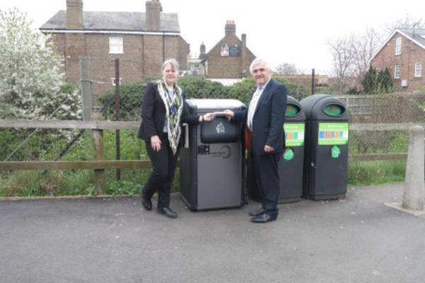 Councillor Stephen Alambritis with Councillor Judy Saunders with a smart bin.