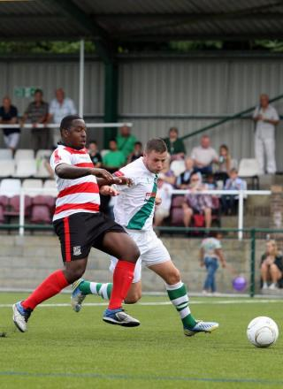 Handful: Kingstonian striker Nathaniel Pinney was his side's main attacking fulcrum on Monday