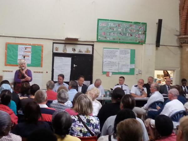 Around 250 attended the police meeting in St Mark's Church, Mitcham on Saturday, August 2 2014