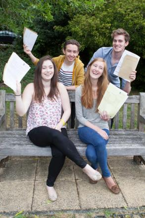 Students at Ursuline High School collect their results last year