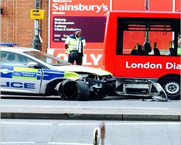 The drivers of this police patrol car will need to call their insurers after hitting a London bus Photo: @taqui6