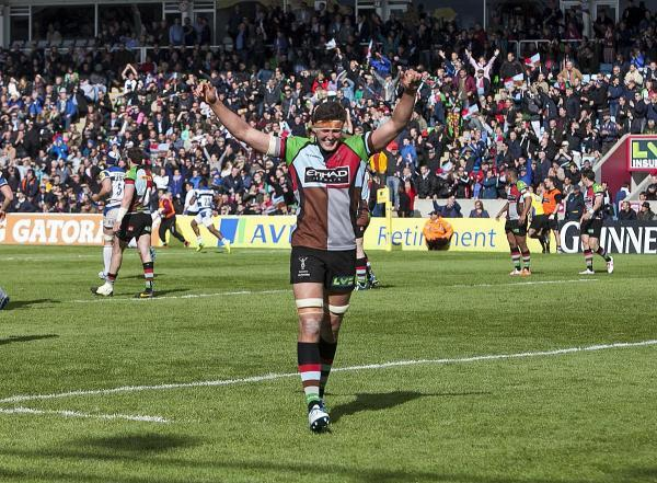 Tough time: Charlie Matthews celebrates securing a top four Premiership finish last season