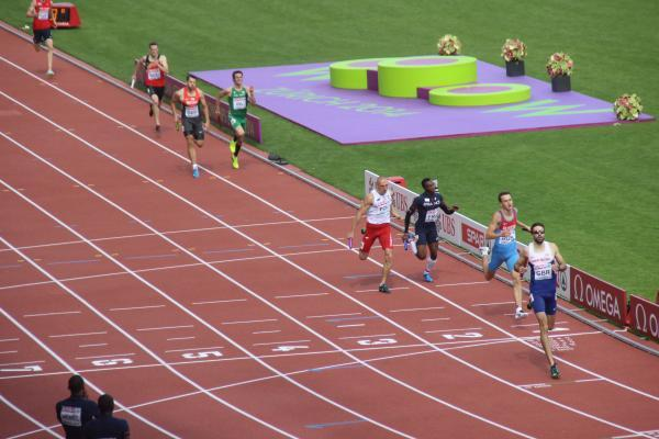 Leader: Martyn Rooney brings home the 4x400m GB & NI team fo