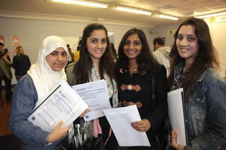 Pupils at Harris Academy Merton receiving their GCSE results last year.