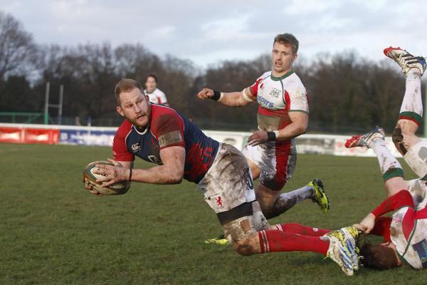 Action man: Mark Bright takes on the Plymouth Albion defence last season             SP82868