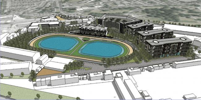 An artists' impression of the new greyhound stadium. Images: Hamilton Architects