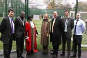 Councillor Nick Draper, left, with the mayor of Merton, second from left, at the official opening