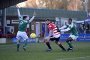 Out of here: Kingstonian defender Matt Drage in action against Leatherhead on Saturday - his last game for the club