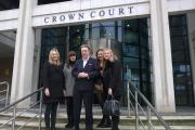 From left, Samantha MacArthur with Eloise, Paul, Saskia and Bethany Kohler at court today