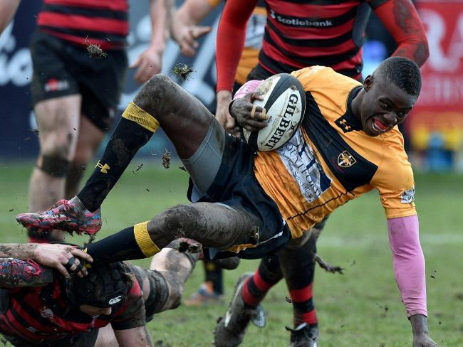 Will it come out in the wash?: Esher winger Spencer Sutherland gives a clear indication he is no domestic god off the field in Saturday's narrow defeat at Blackheath 	Picture: Keith Gillard