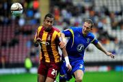Return: Leicester City's Liam Moore, left, in action for Bradford City during a loan spell at Valley Parade in 2011