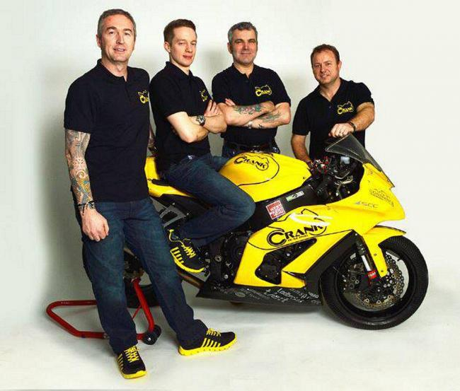 Big ambitions (from left to right): Crank Racing owner Mark Groves, Twickenham's Simon Low,  crew chief Andrew Joyce  and team boss Richard Green are giving it everything in the Superstock 1,000 Championship this year