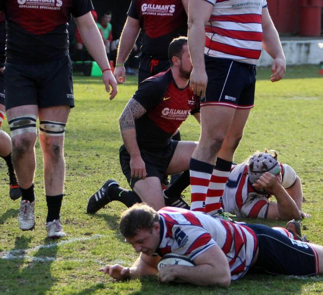 Over: Adam Bellamy scores Rosslyn Park's third try in the weekend win over Hartpury College            All pictures: David Whittam