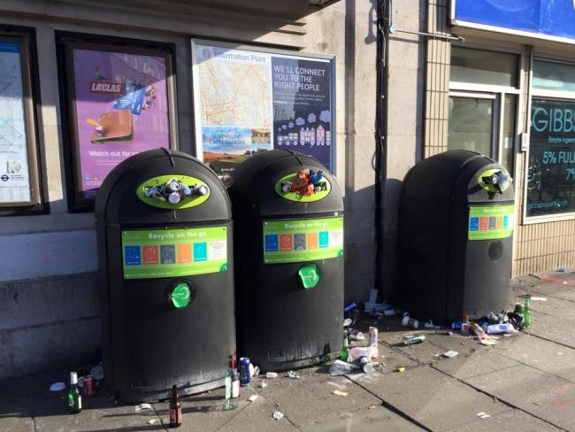 Overflowing bins captured in Colliers Wood on a Sunday last month. Picture: Clare Adams
