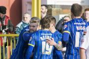 Highlight: Alfie Reeves enjoys his only goal in AFC Wimbledon colours during the dramatic late win over Luton Town