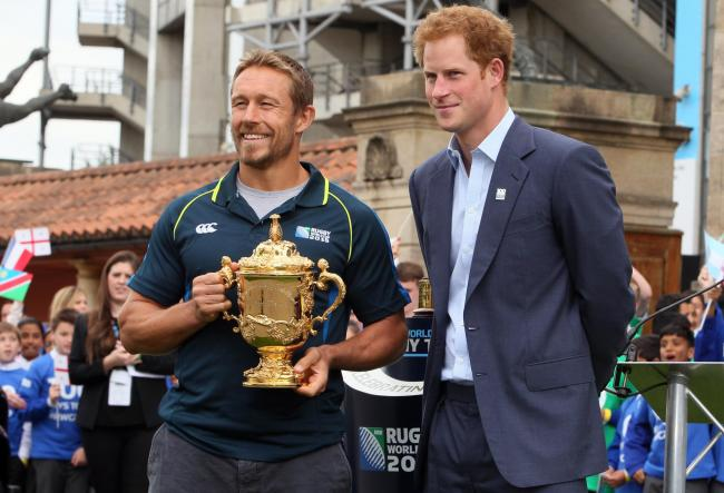 All smiles: Jonny Wilkinson and Prince Harry at the launch this week