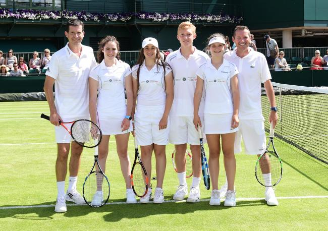 Learn from the best: Jodie Lawrence-Taylor, third from left, and Alice Klugman, second from right, with former British number one Tim Henman, far left
