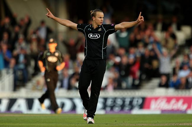Happy days: Tom Curran celebrates his crucial run out in the London One Day Trophy semi-final win over Nottinghamshire on Monday                All pictures: Steven Paston PA Photos