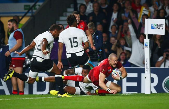 Man of the match: England's Mike Brown scores against Fiji on Rugby World Cup 2015 opening night at Twickenham stadium  Pictures: Getty Images