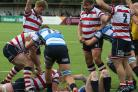 Hat-trick man: Hugo Ellis bagged three tries in the win over Darlington Mowden Park, but the crucial fourth would not come                Pictures: David Whittam