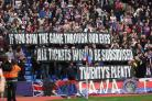 One voice: The Holmesdale fanatics make their feelings about ticket prices known