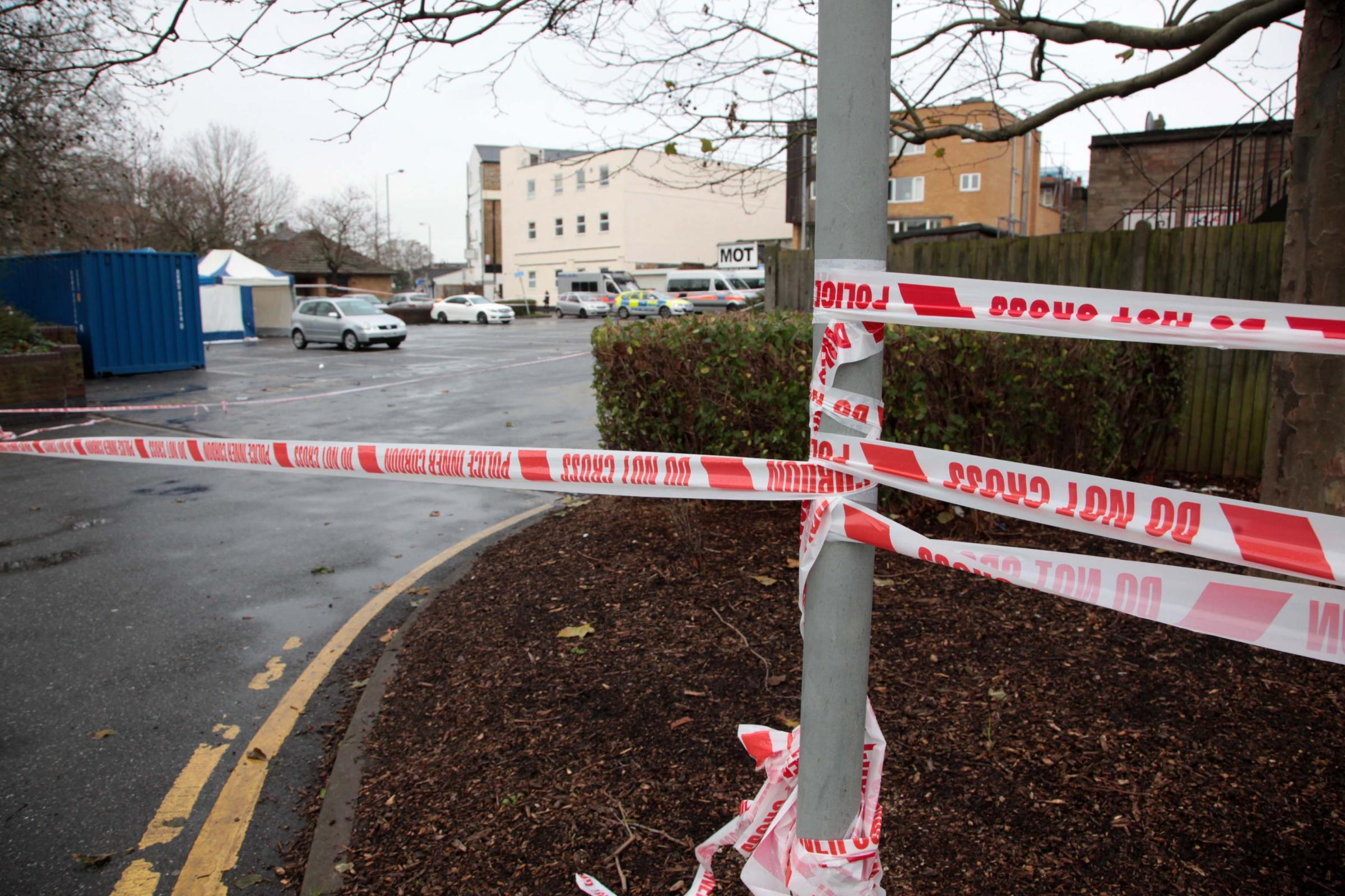 Axe fight: Holborn Way, Mitcham, was cordoned off by police