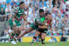 Flashback: George Lowe is halted by Manu Tuilagi - who has suffered his fair share of injuries himself - during Harlequins' Premiership title triumph at Twickenham in 2012