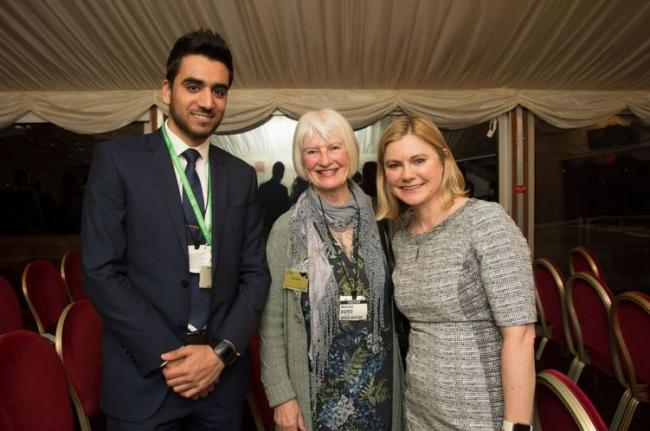 AMYA volunteer Abdul Lodhi with flood victim Sylvia Pilling and Justine Greening MP