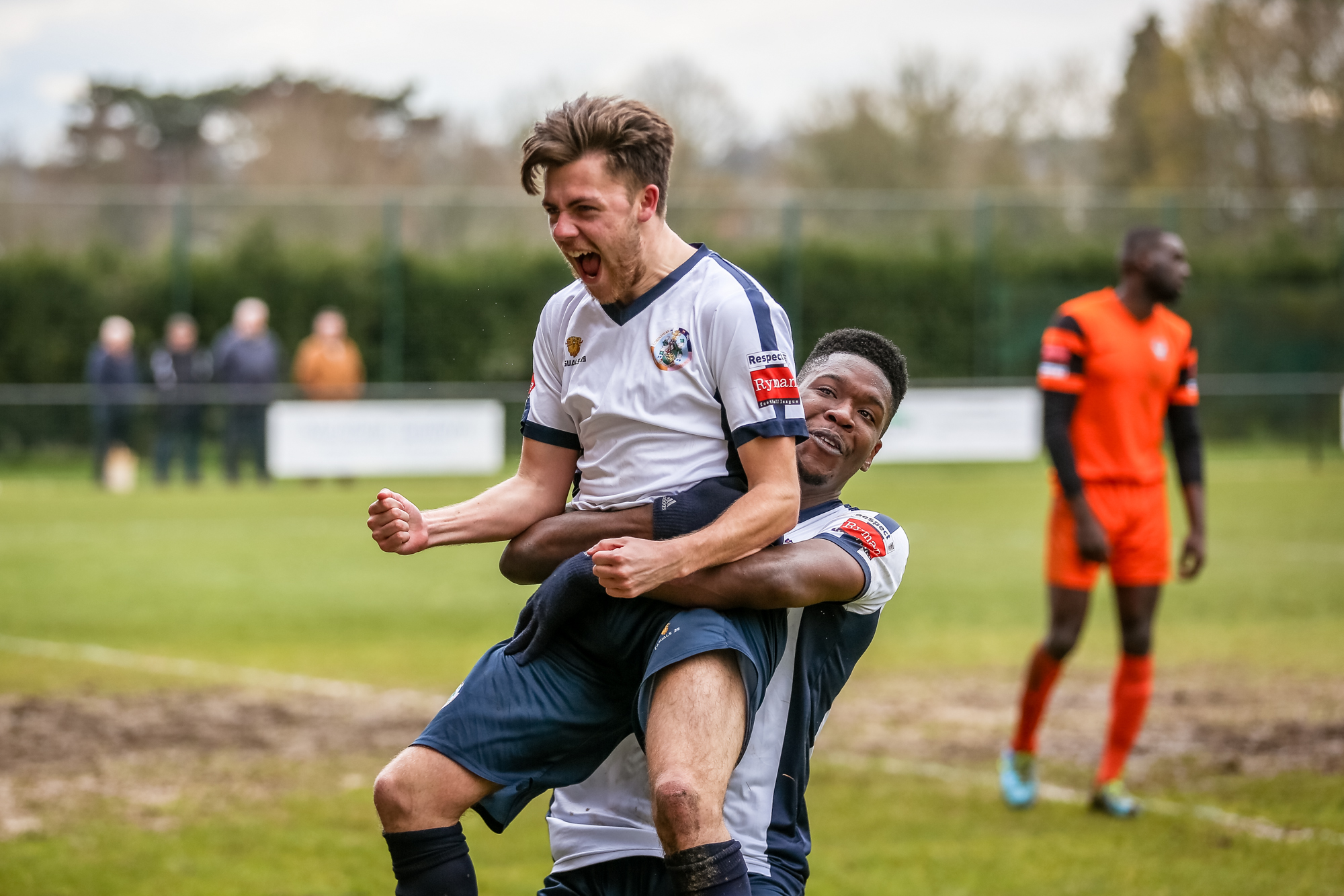 You beauty: Shaun Okojie hugs Josh Uzun after the latter scored Casuals' second      Pic: Stuart Tree