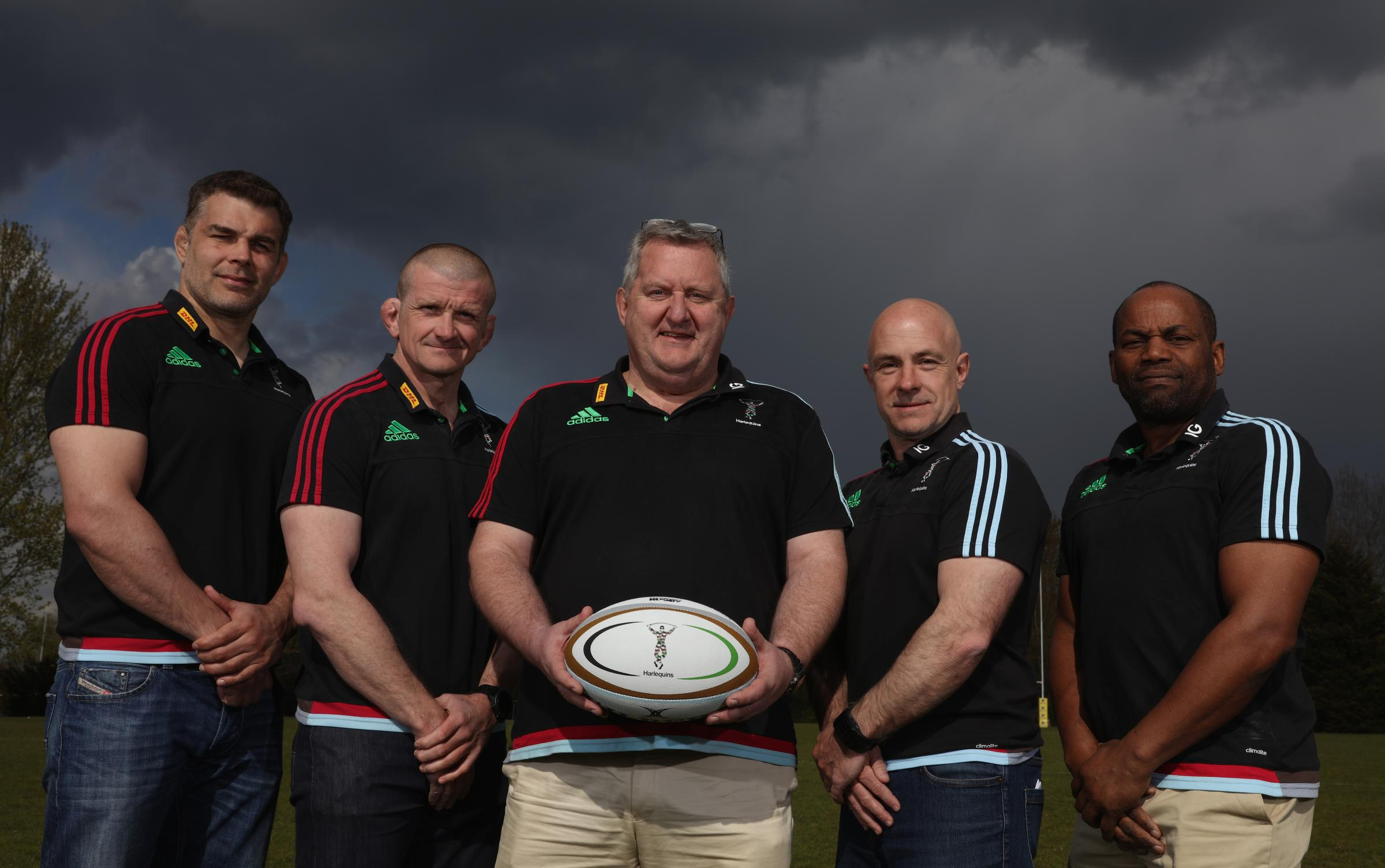 Enthusiastic: Harlequins director of rugby John Kingston, centre, and his team are keen for the European Rugby Challenge Cup this season