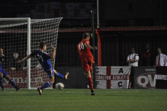 Opener: Brendan Murphy-McVey fired Carshalton Athletic into the lead against Worthing on Monday night, but they would eventually lose 6-2 to end their interest in the FA Cup        Pic: Ian Gerrard