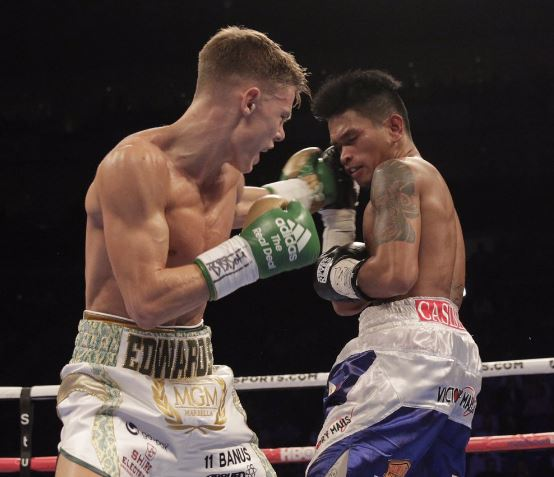 Not this time: Charlie Edwards lost by a TKO to John Riel Casimero in Saturday's IBF flyweight world title fight