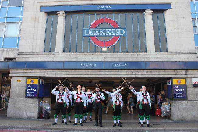 Morris dancers at Morden station