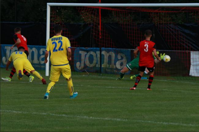 Danny Fernandez hits the target for Sutton Common Rovers at Knaphill