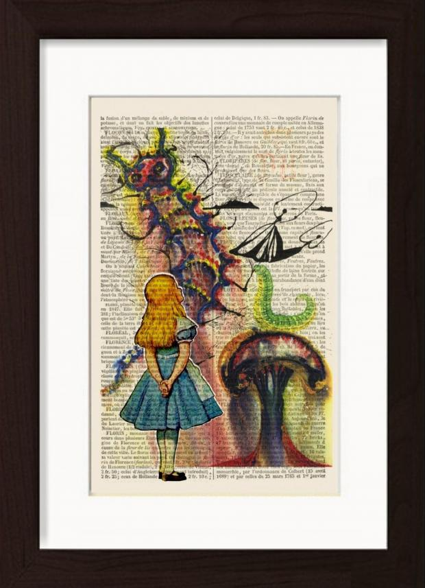 Wimbledon Times: Handmade at Amazon Alice In Wonderland Print by Dictionary Page Print, £18
