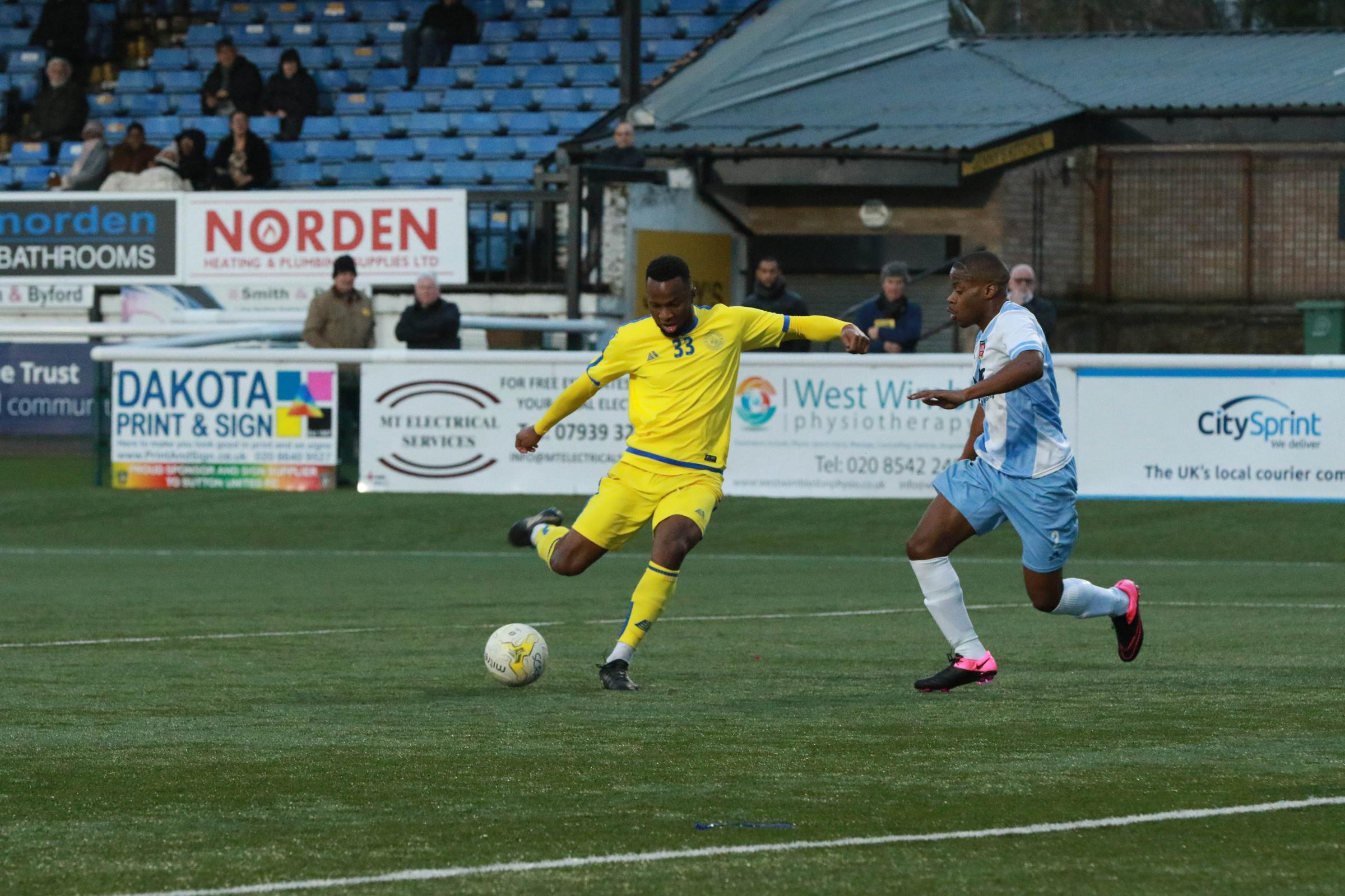Malachi Thomas scores his first goal for Sutton Common Rovers against Hanworth Villa on Saturday