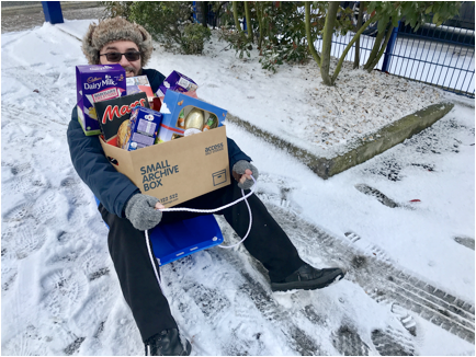 Andrew Smith Access Self Storage manager collects donated eggs by sleigh this week